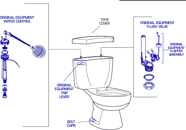 Genuine American Standard 2816 Toilet Replacement Parts