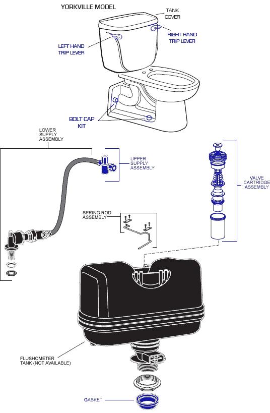American Standard 2325 101 Yorkville El Toilet Parts